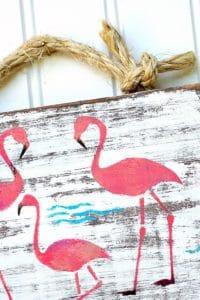 pink flamingo stenciled wall art