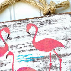 pink flamingo stenciled wall art