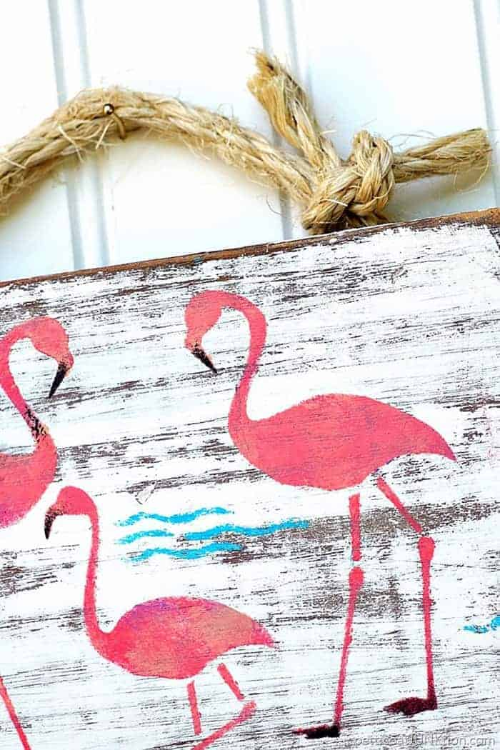 Pink Flamingo Stencil project wall decor