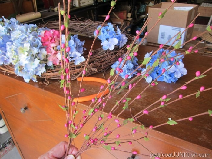 flowers from my stash for wreath project