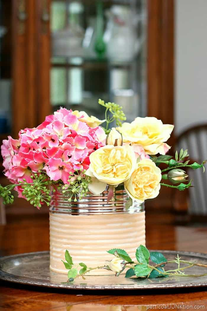 glam coffee can flower vase