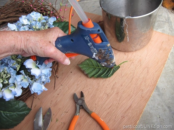 hot glue for the wreath makeover
