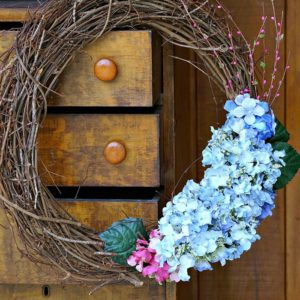Hydrangea Grapevine Wreath For Mom