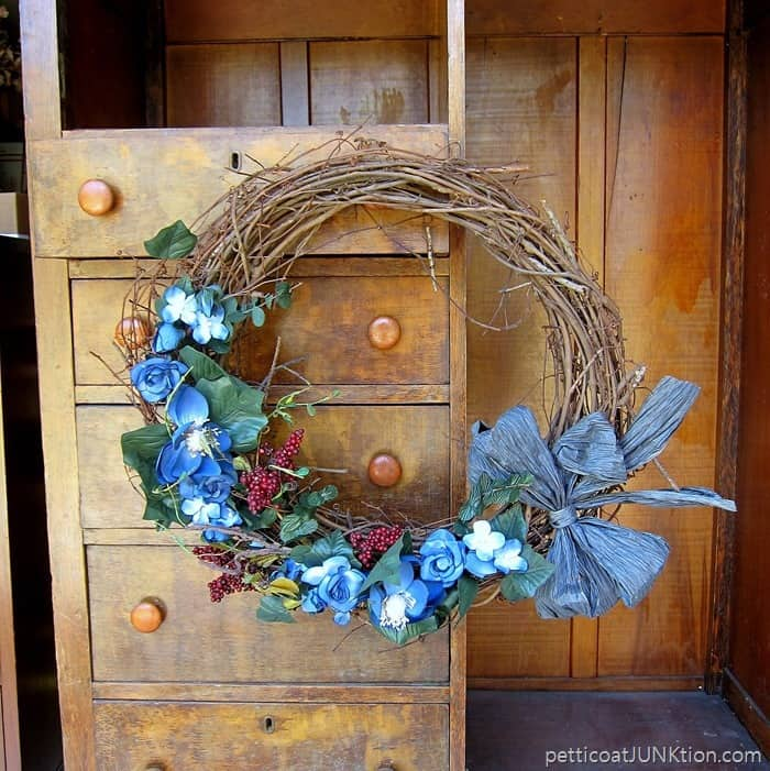 outdated wreath looking for a makeover
