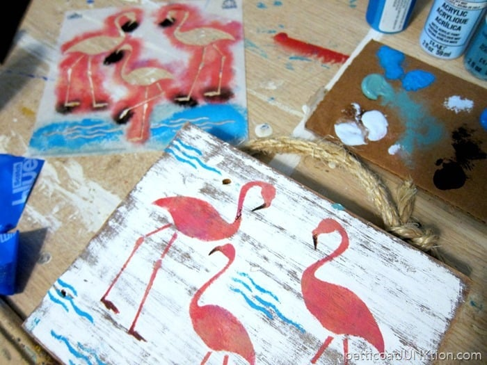 pink flamingo stencil project all done
