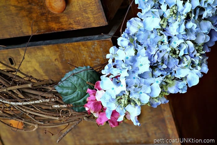 pretty blue and pink hydrangea faux flowers for grapevine wrreath