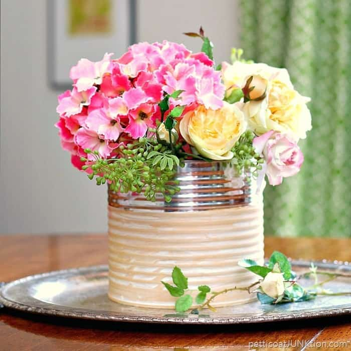 recycle project glam coffee can flower vase