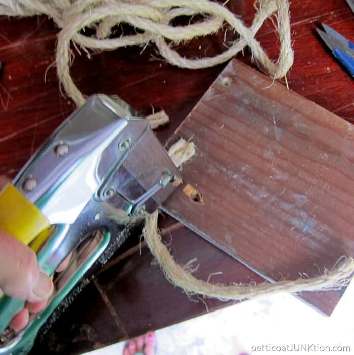 sisal rope for hanging the stenciled sign