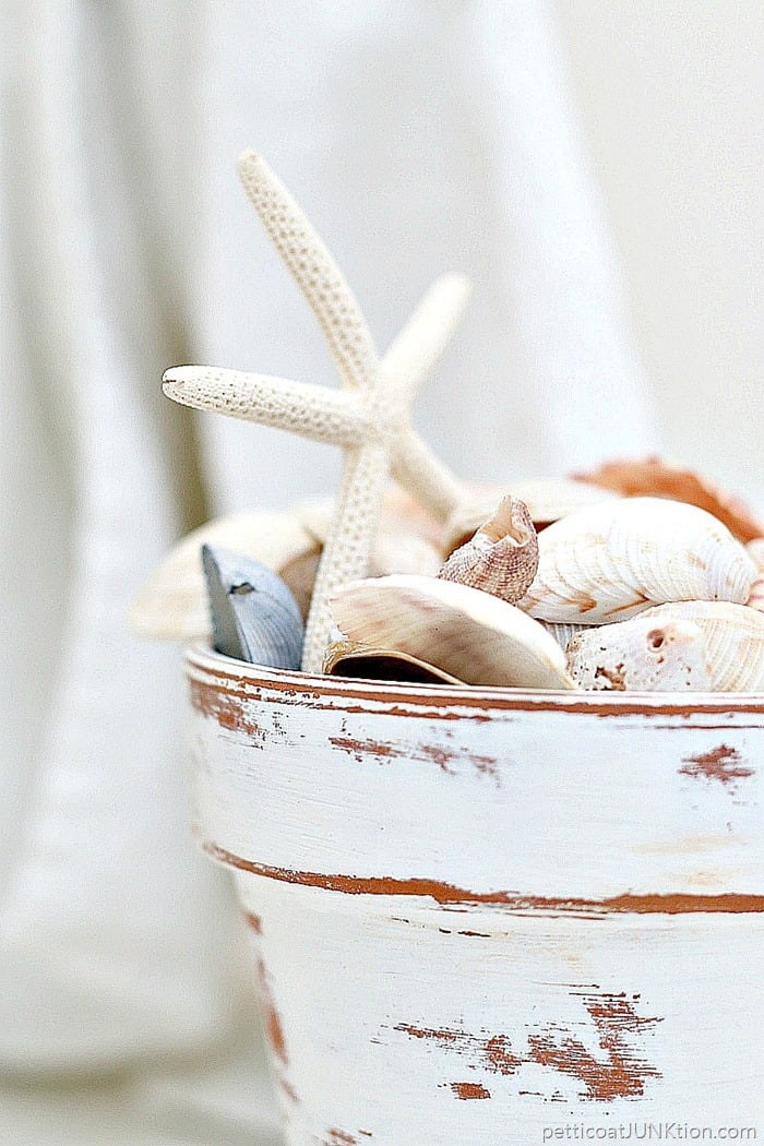 distressed white terra cotta clay pot