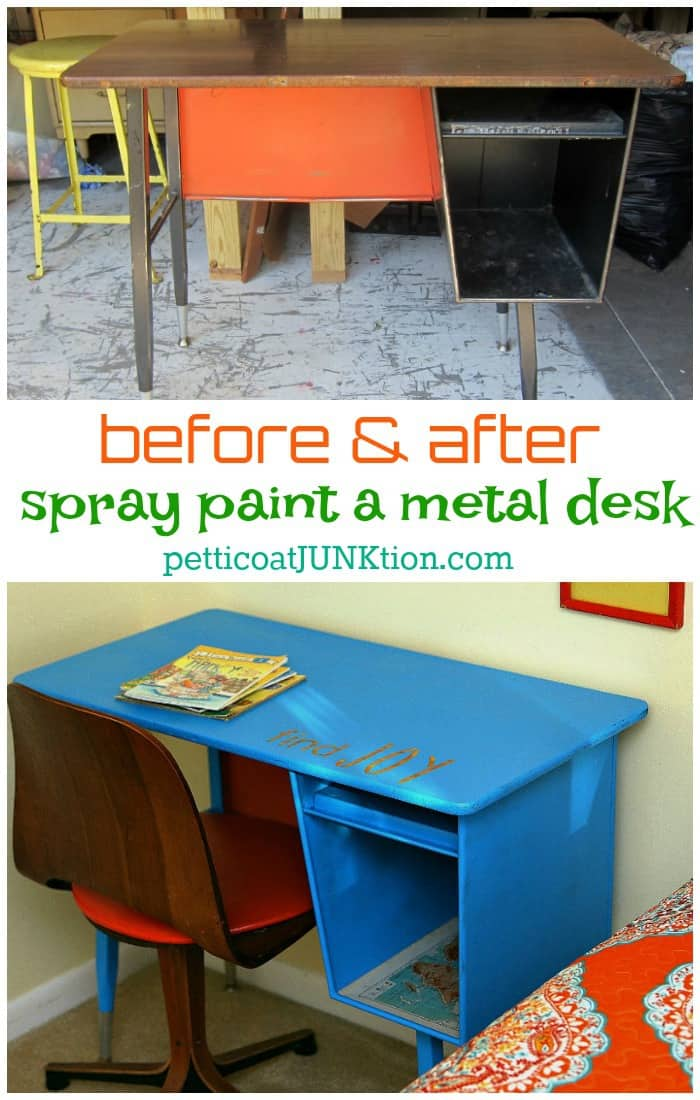 How to spray paint a metal desk by Petticoat Junktion
