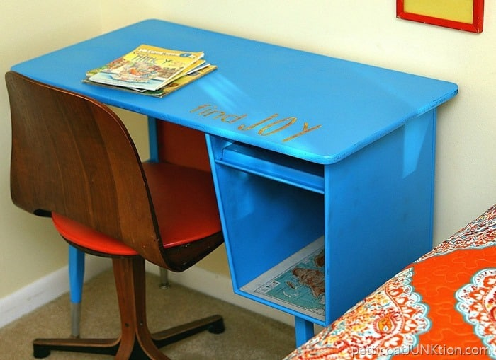 blue and orange painted furniture 1