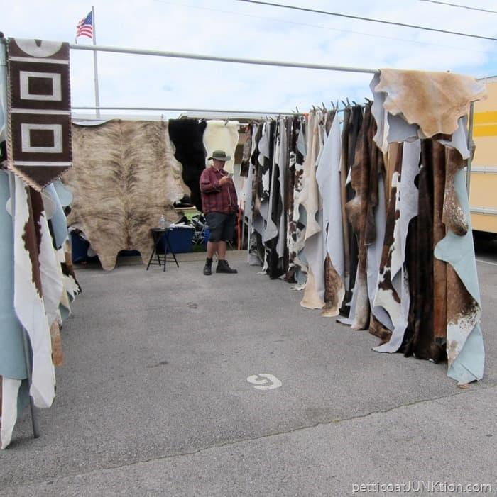 cow hides Nashville Flea Market shopping trip with Petticoat Junktion