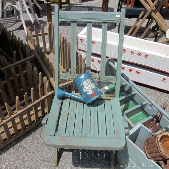 pretty painted watering can Nashville Flea Market shopping trip with Petticoat Junktion