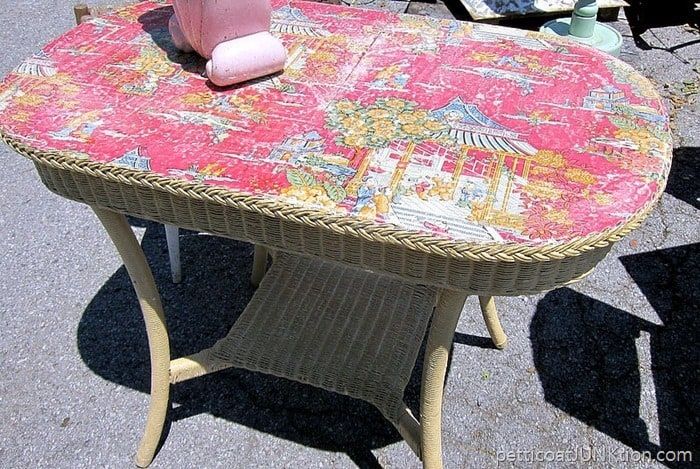 wicker table with decoupaged top from Debbie of Crabtree Corner Antiques a vendor at the Nashville Flea Market