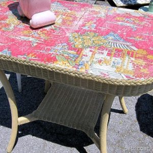Wicker Table With Decoupaged Top | Nashville Flea Market
