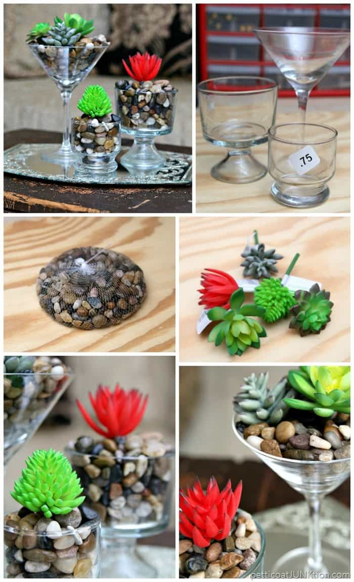 Faux Succulents In Fancy Thrift Store Glasses by Petticoat Junktion