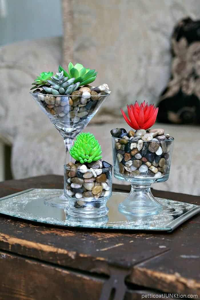 Faux Succulents In Fancy Thrift Store Glasses