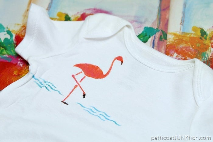 Pink Flamingo stenciled onesie baby gift