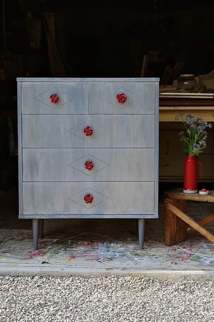 Red Rose Knobs And Metallic Paint Wash For Painted Furniture