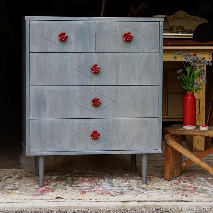 red rose knobs and metallic paint wash for furniture