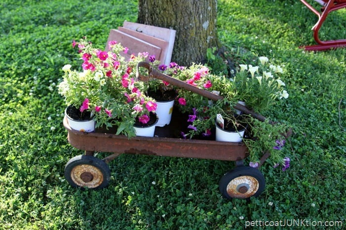 rusty wagon to use as flower planter