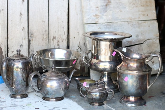 7 Silver Plated Pieces Including Champagne Bucket