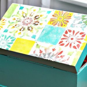 Paint A Tile Stencil Design On Wood