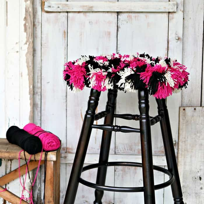 Black and Fuchsia Red Heart Yarn bar stool seat cover