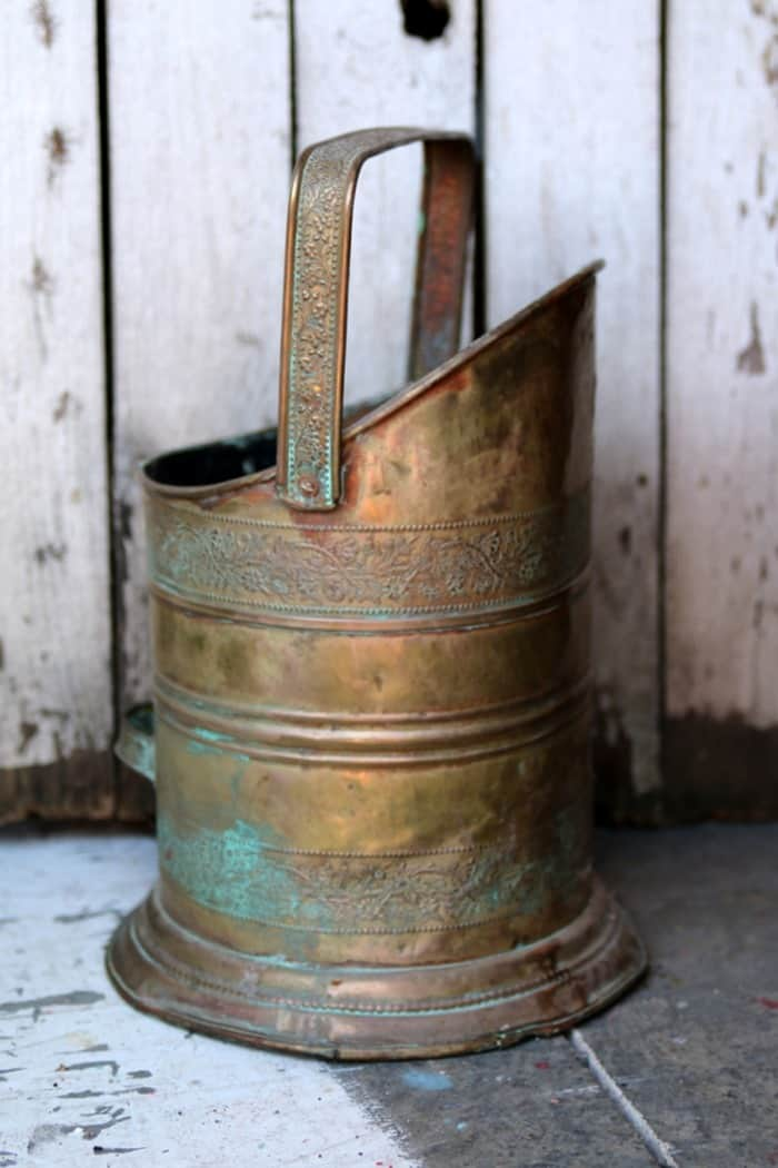 Copper coal scuttle an estate sale find