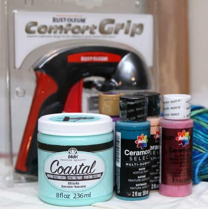 FolkArt Coastal paint and Rustoleum paint sprayer handle