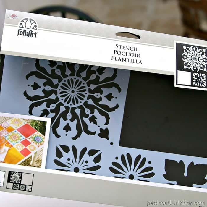 FolkArt Stencil Tile Design Mod Flower