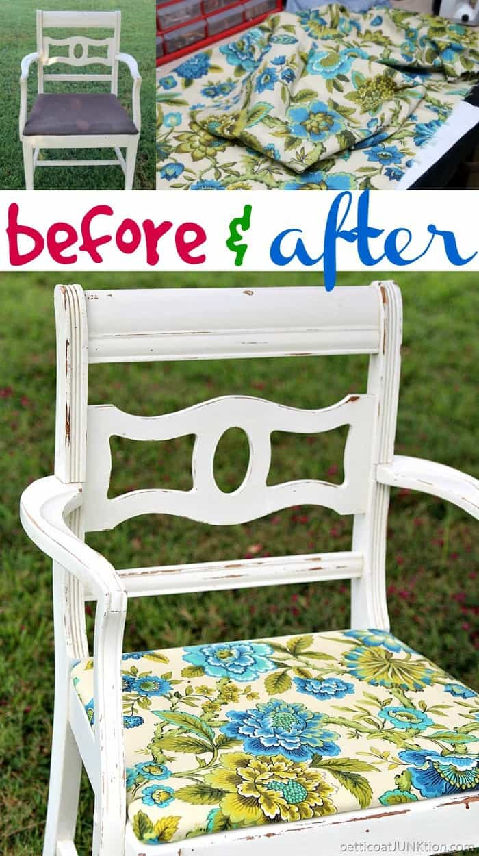 How to cover a fabric chair seat and distress the paint