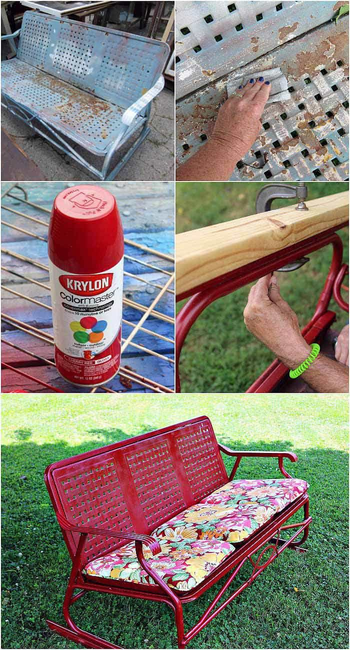 How to spray paint a vintage glidder with Cherry Red Gloss spray paint from Krylon
