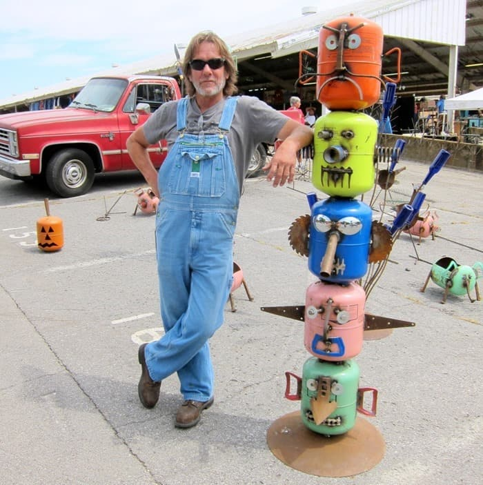 Jimbo from Bradley Metal Works with his Garden Sculptures or yard art