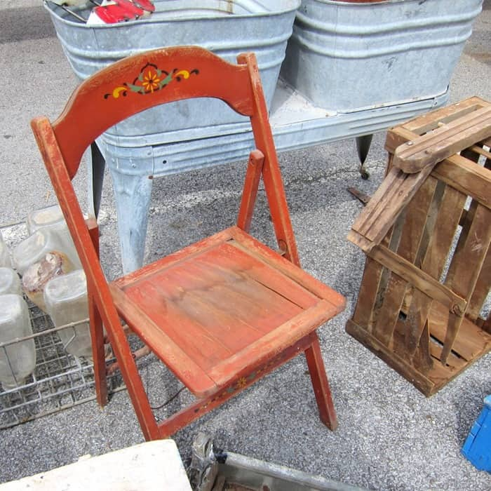 orange folding chair from the Nashville Flea Market