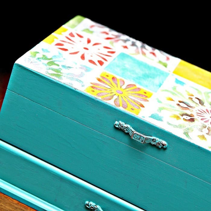 colorful turquoise jewelry box with flower tile stencil design