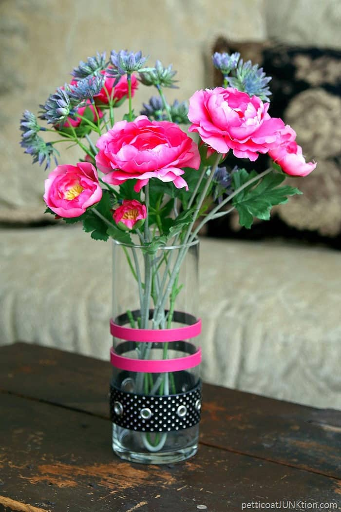 flower vase decorated with recycled belts