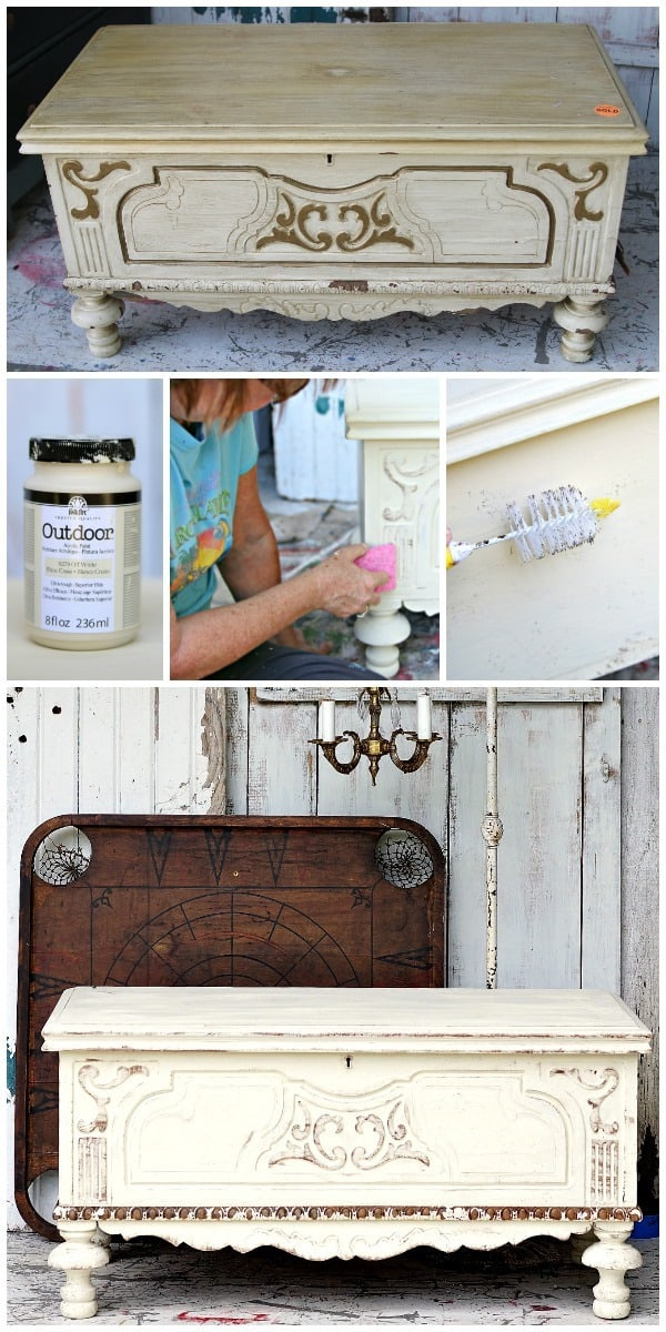 how to antique or age painted furniture using a bottle brush and sponge
