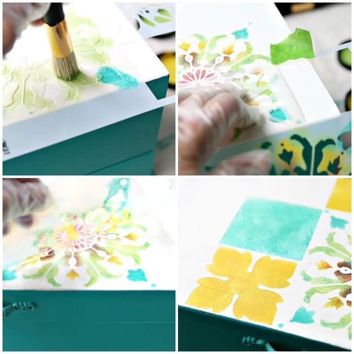 how to stencil a tile design