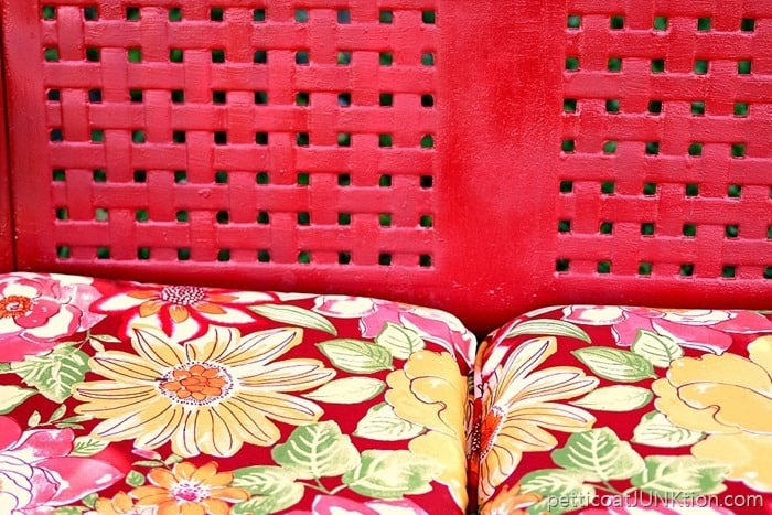 new outdoor bench cushions and red paint color
