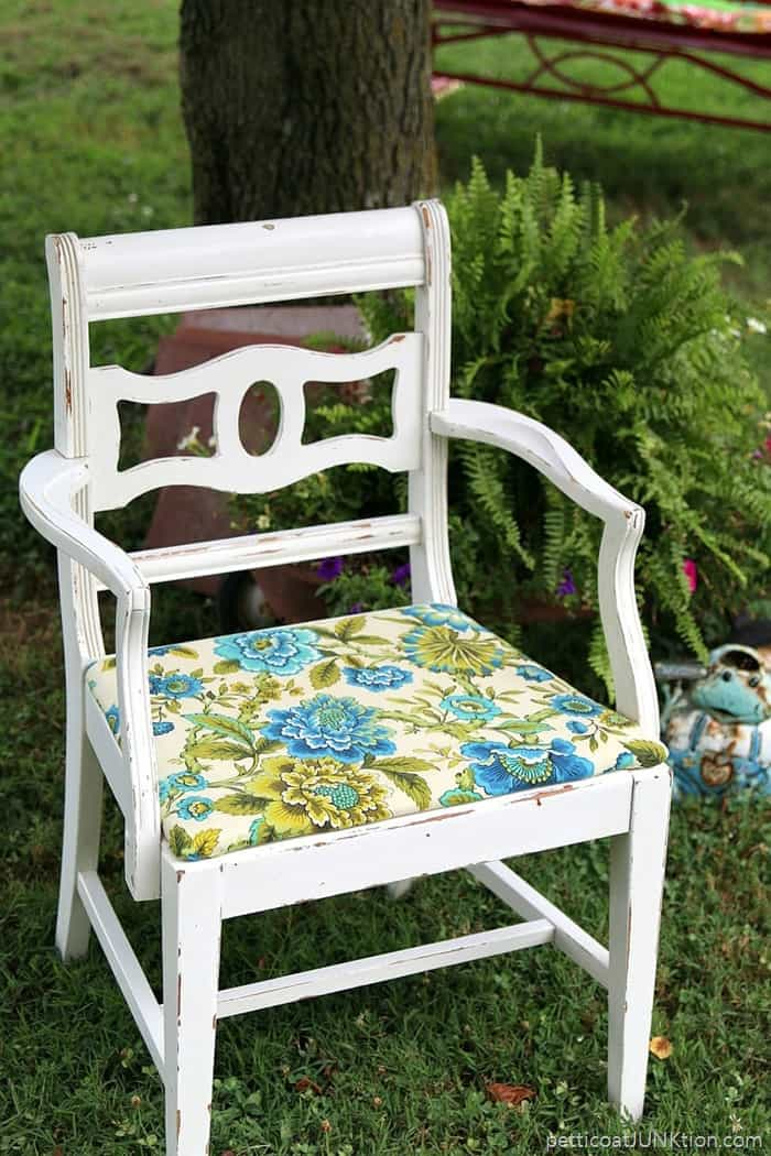 thrift store chair looks like a million bucks after getting a fabric seat update