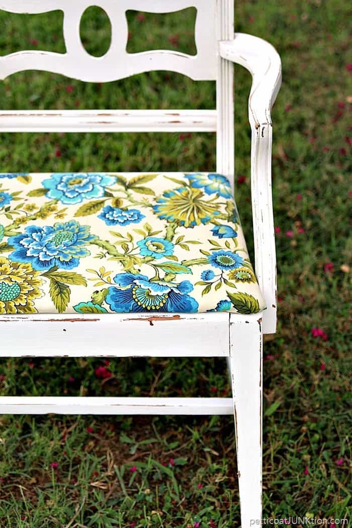 turquoise and blue floral fabric design updates a thrifty 10 dollar chair