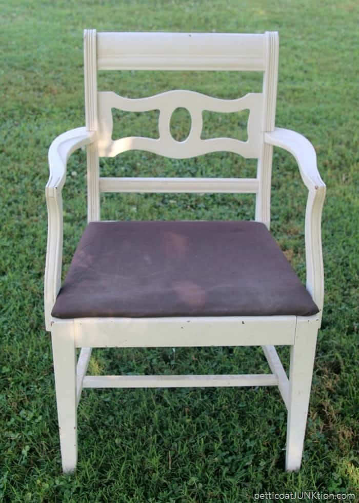 white chair for makeover with distressed paint and new fabric seat