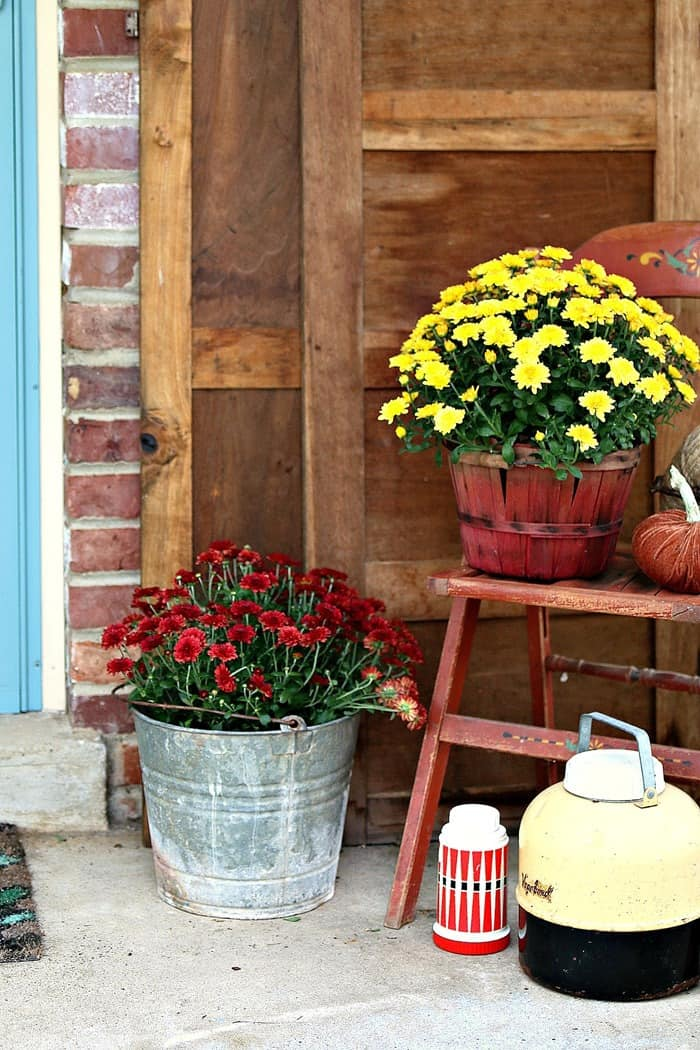 Birdhouse Flower Container And Rake Wreath