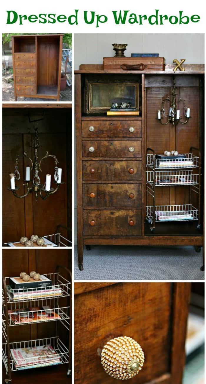 Dressed up vintage wardrobe with chandelier