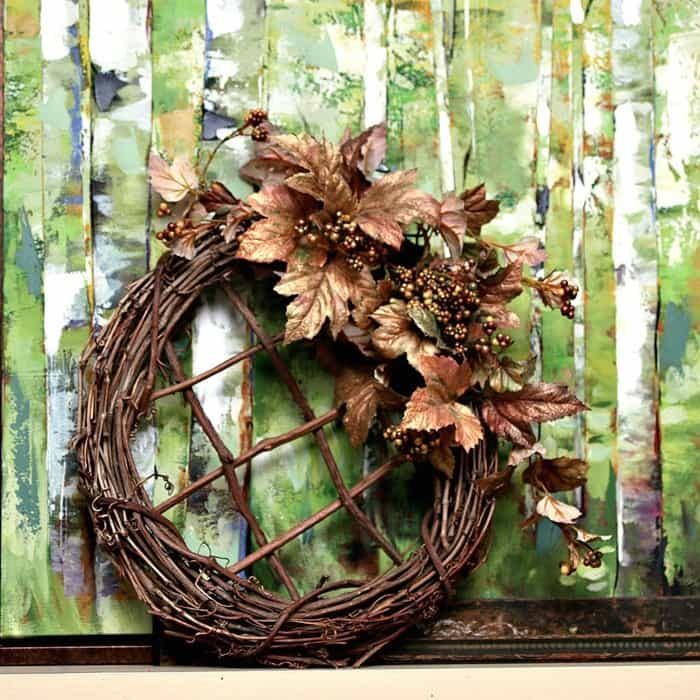 Fall Grapevine Wreath with Metallic Gold Leaves