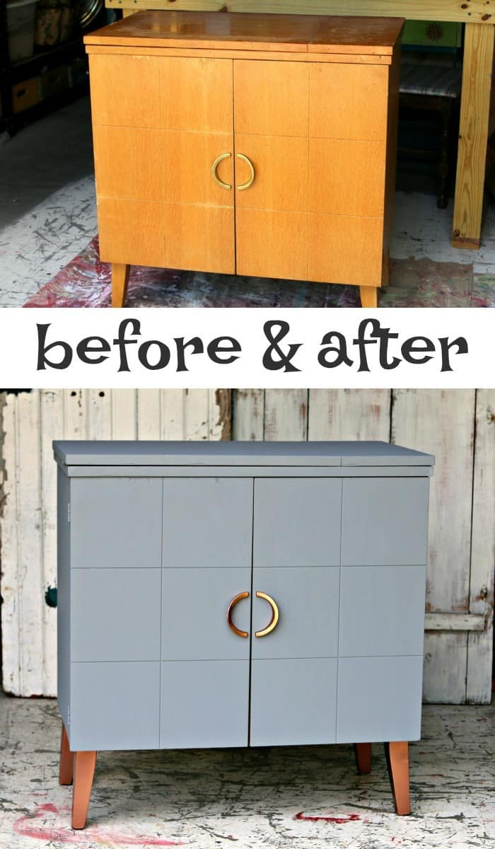Metallic Copper and Gray painted furniture makeover with before and after photos and complete tutorial