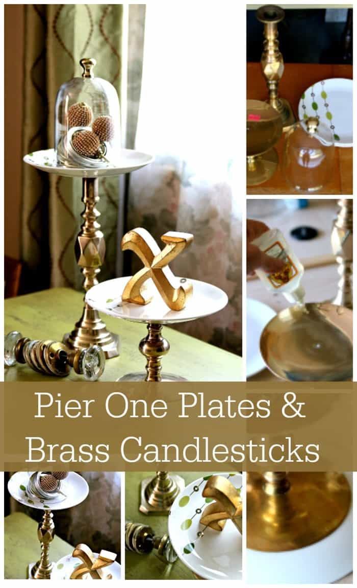 Serving Stands Made From Pier1 Dishes And Brass Candlesticks found at the local Goodwill