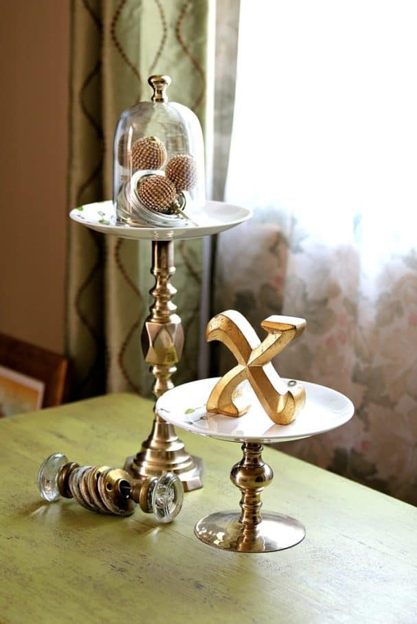 serving stands using Pier One plates and brass candlesticks