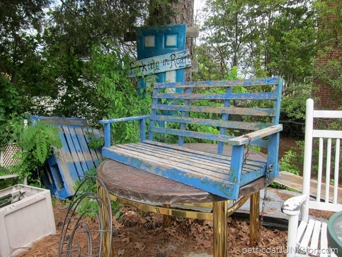 blue porch swing at The Blue Building Antiques